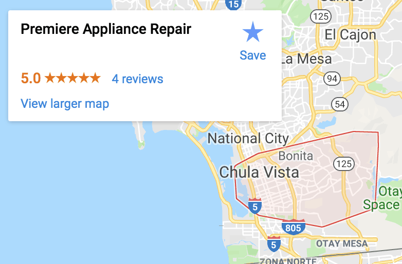 appliance repair service map